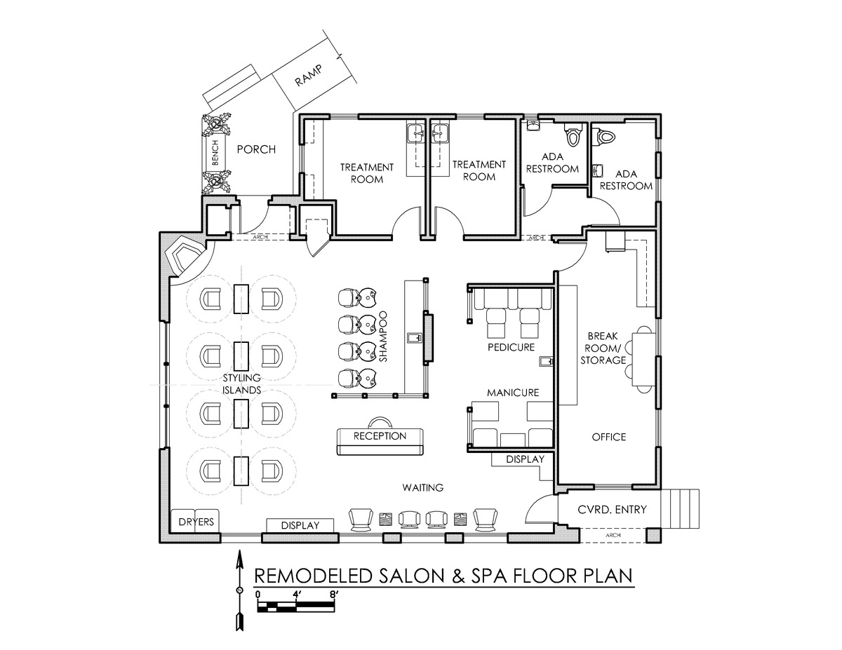 Freddie b salon spa stand alone tenant improvement for Salon floor plans