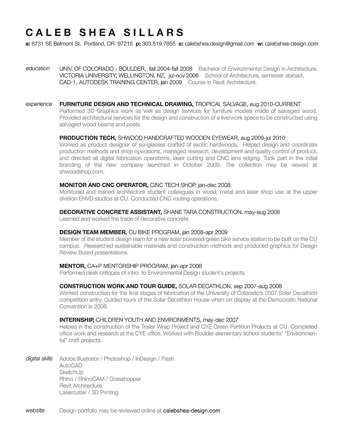resume caleb sillars archinect resume