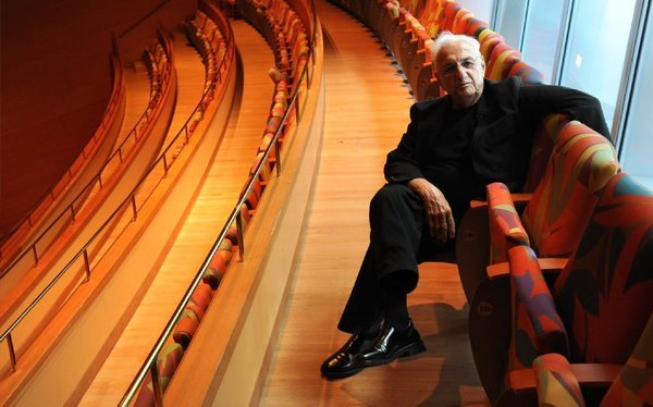 Frank Gehry at Walt Disney Concert Hall in Los Angeles in August. (Wally Skalij / Los Angeles Times)