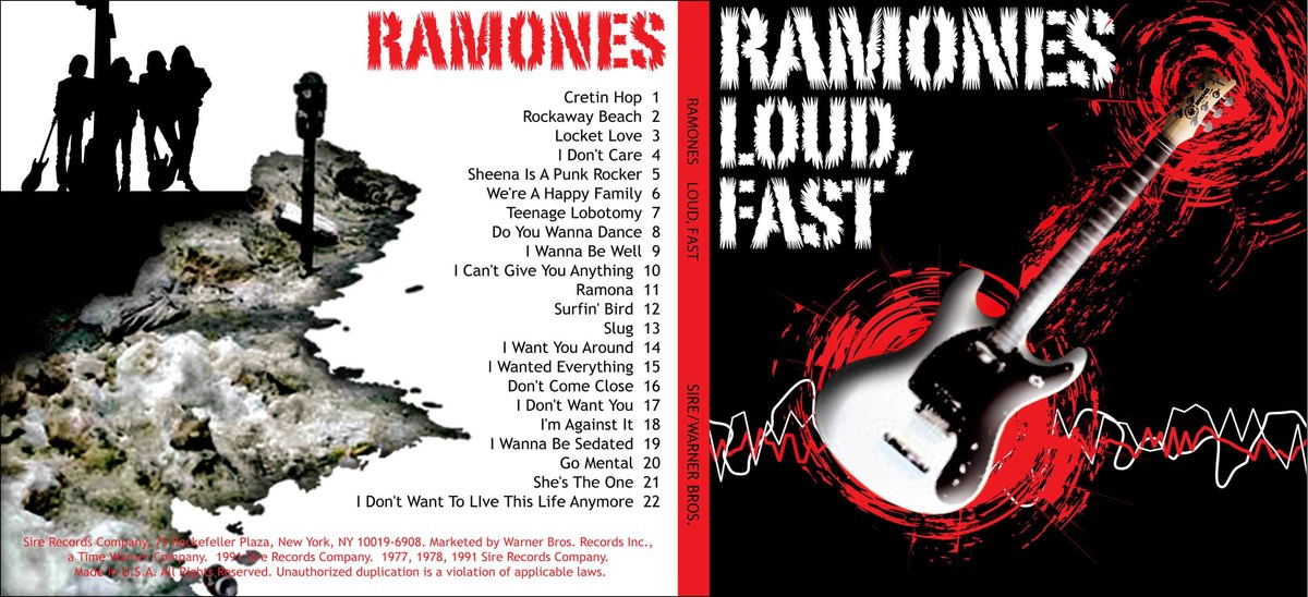 This piece is a CD cover for The Ramones, a seminal punk rock band.