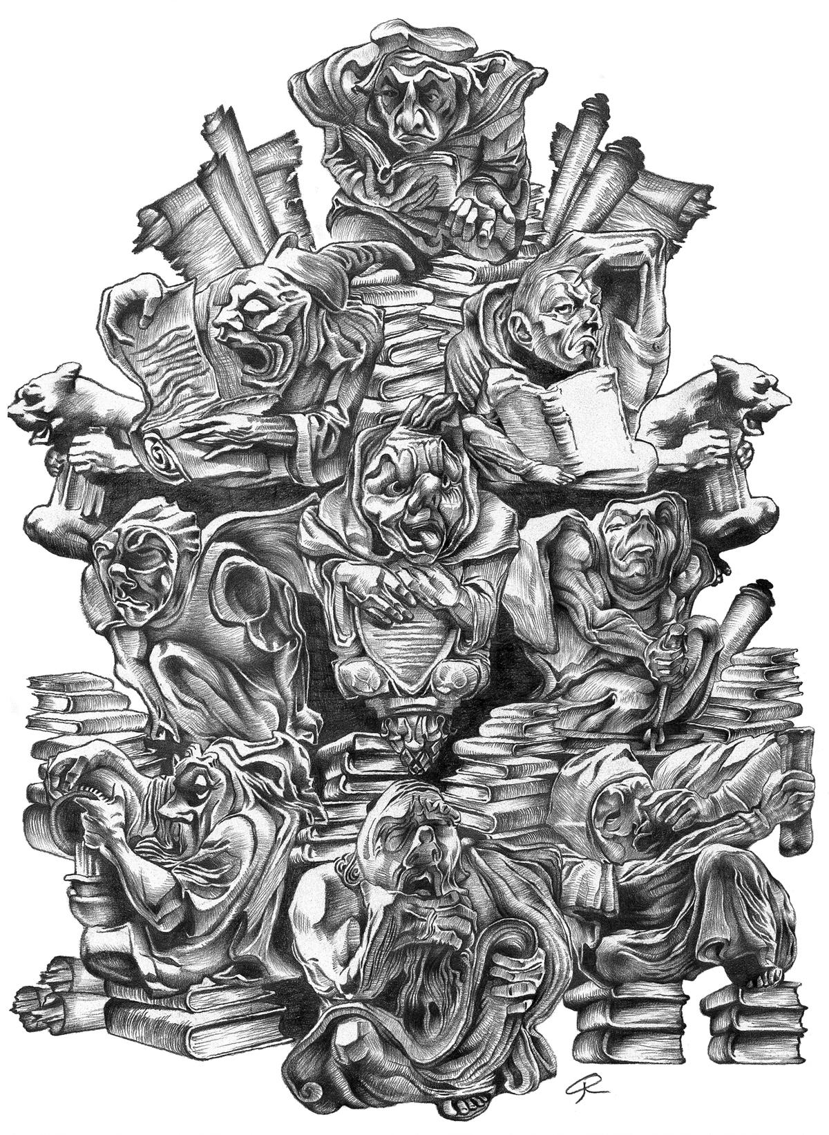 Pencil illustration of wise men seeking knowledge.