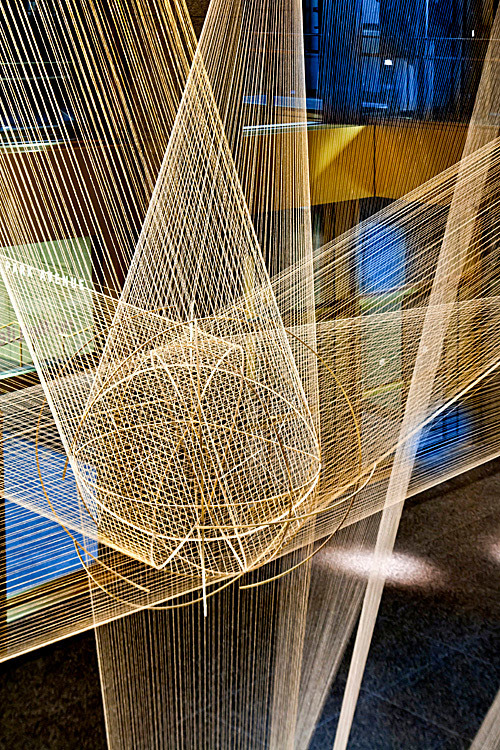 Lighting design for Richard Lippolds Flight sculpture, in the lobby of the MetLife building, NYC by bluarch architecture