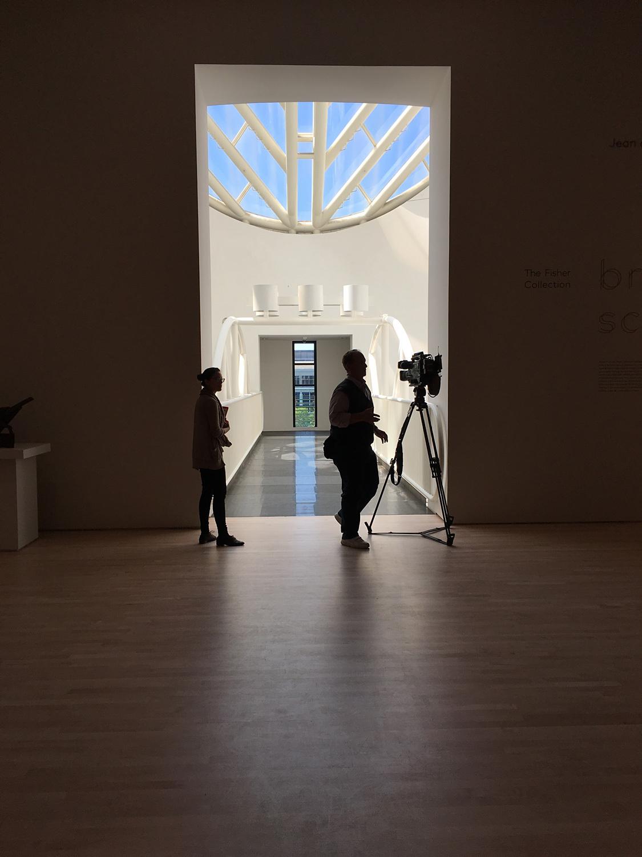 The 5th floor mesh catwalk across Botta's rotunda; photo: Julia Ingalls.