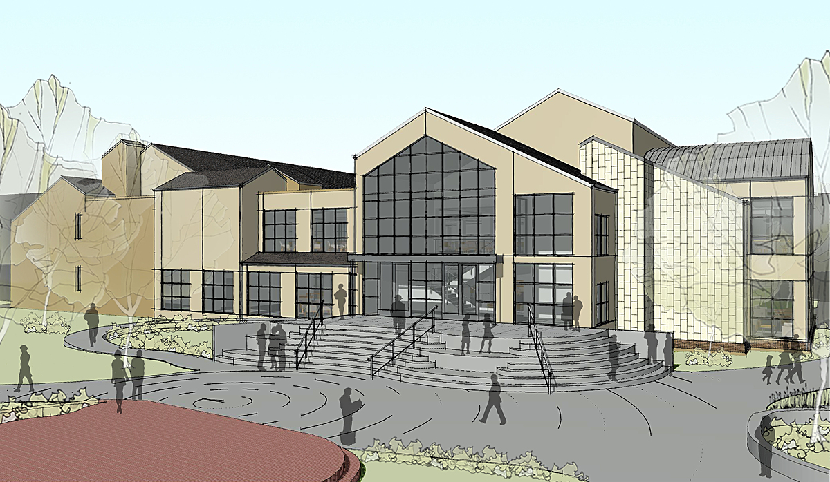 Artist Rendering of Goleman Library as seen from the heart of the campus.