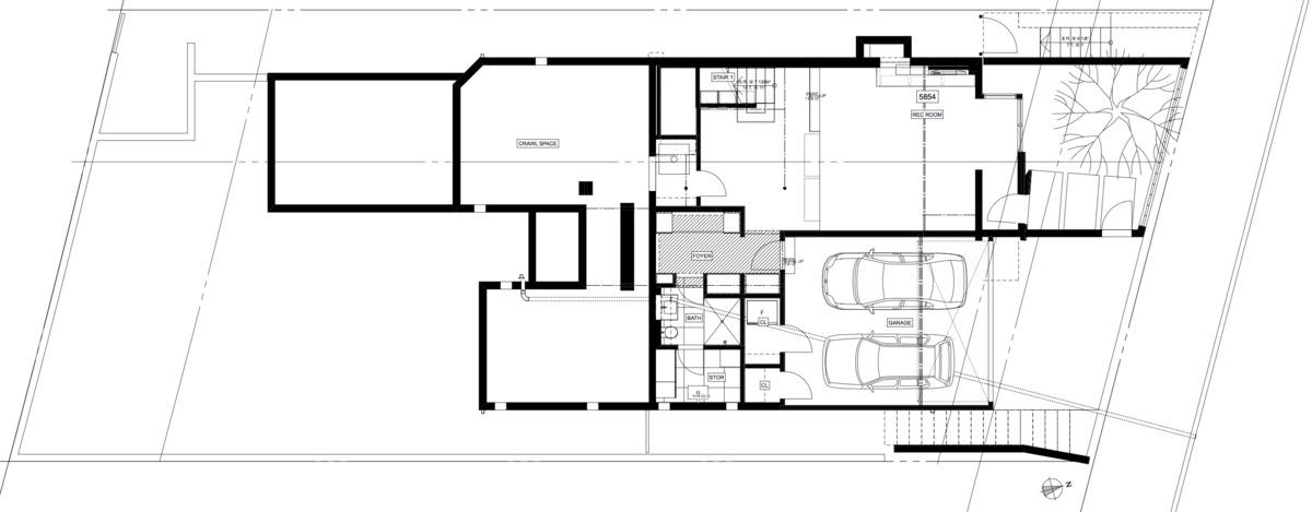 first floor: rec room, garage, guest bath, front yard