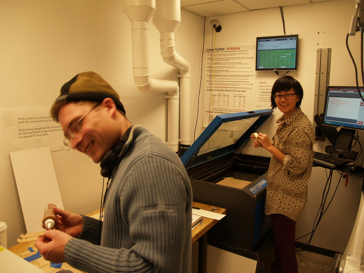 Tom and Sheena in the lasercutter room