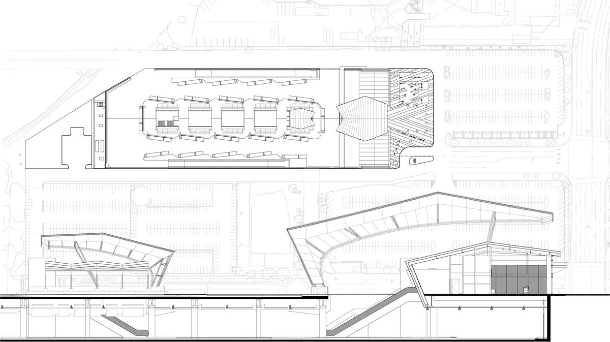 Plan Elevation Section Of Bus Stop : El monte station regional bus facility in ca