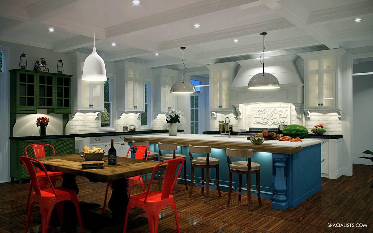 Traditional White Kitchen Design 3d Rendering: KITCHEN 3D RENDERING SERVICE