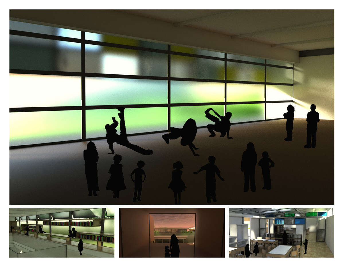 Interior renders. Top: Dance studio. Bottom Left: Library. Bottom Middle: Entryway. Bottom Right: Classroom.