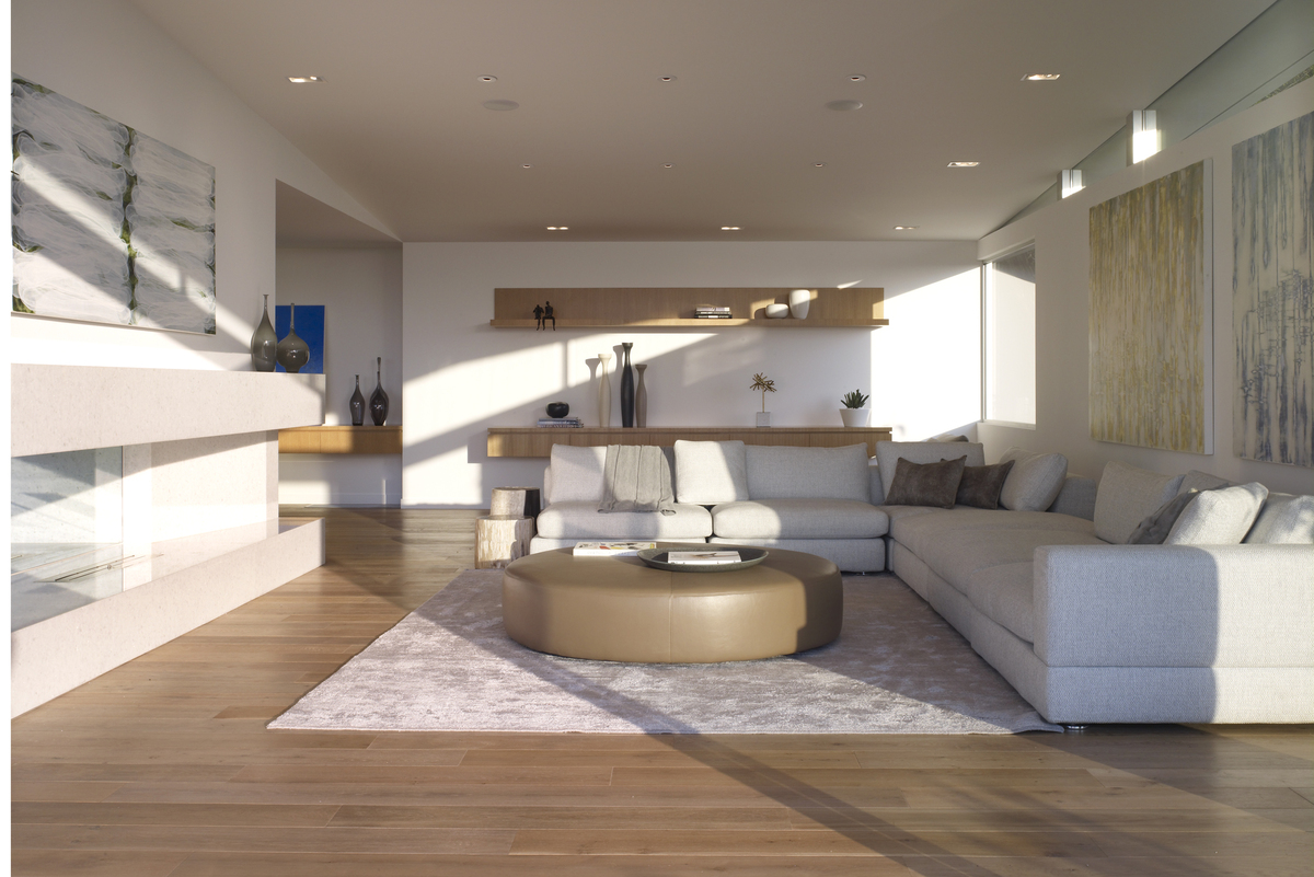 Floor to ceiling windows allow natural light to flood the interior