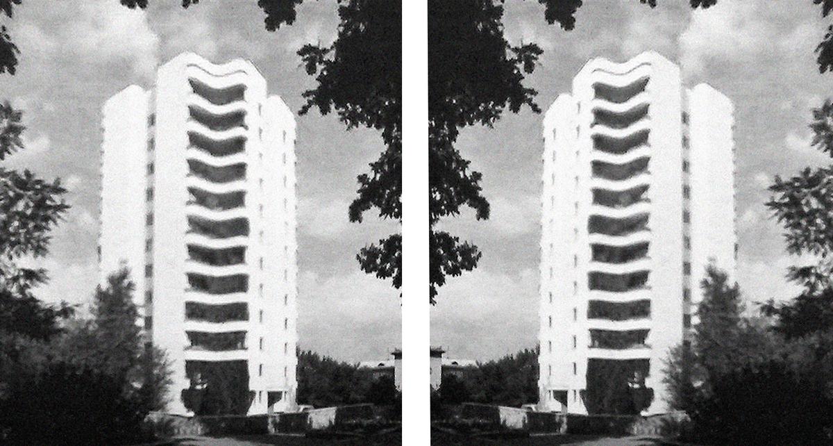 Tower block and cousin, designed by Kazgor in Almaty, Kazakhstan, 1979-81. © Kazgor