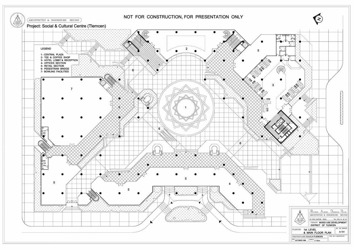 Socio cultural urban centre tlemcen algeria 1986 for Plan tlemcen