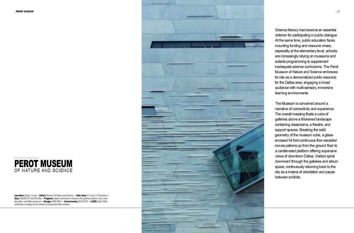 Spread from 'M': The Perot Intro. Image: Morphosis Architects.