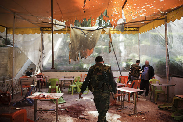 At least 15 Syrian students were killed last Thursday when mortar bombs landed on the canteen of Damascus Universitys College of Architecture - Andrea Bruce for The New York Times