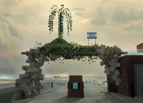 Angelidakis 2010 project Monument to an Oncoming Disaster imagines a monument designed around rising sea levels. On his blog, a description reads, Using the geometric rock modules that break waves are usually built with, we balance an artificial island up at the future horizon line. (Both...