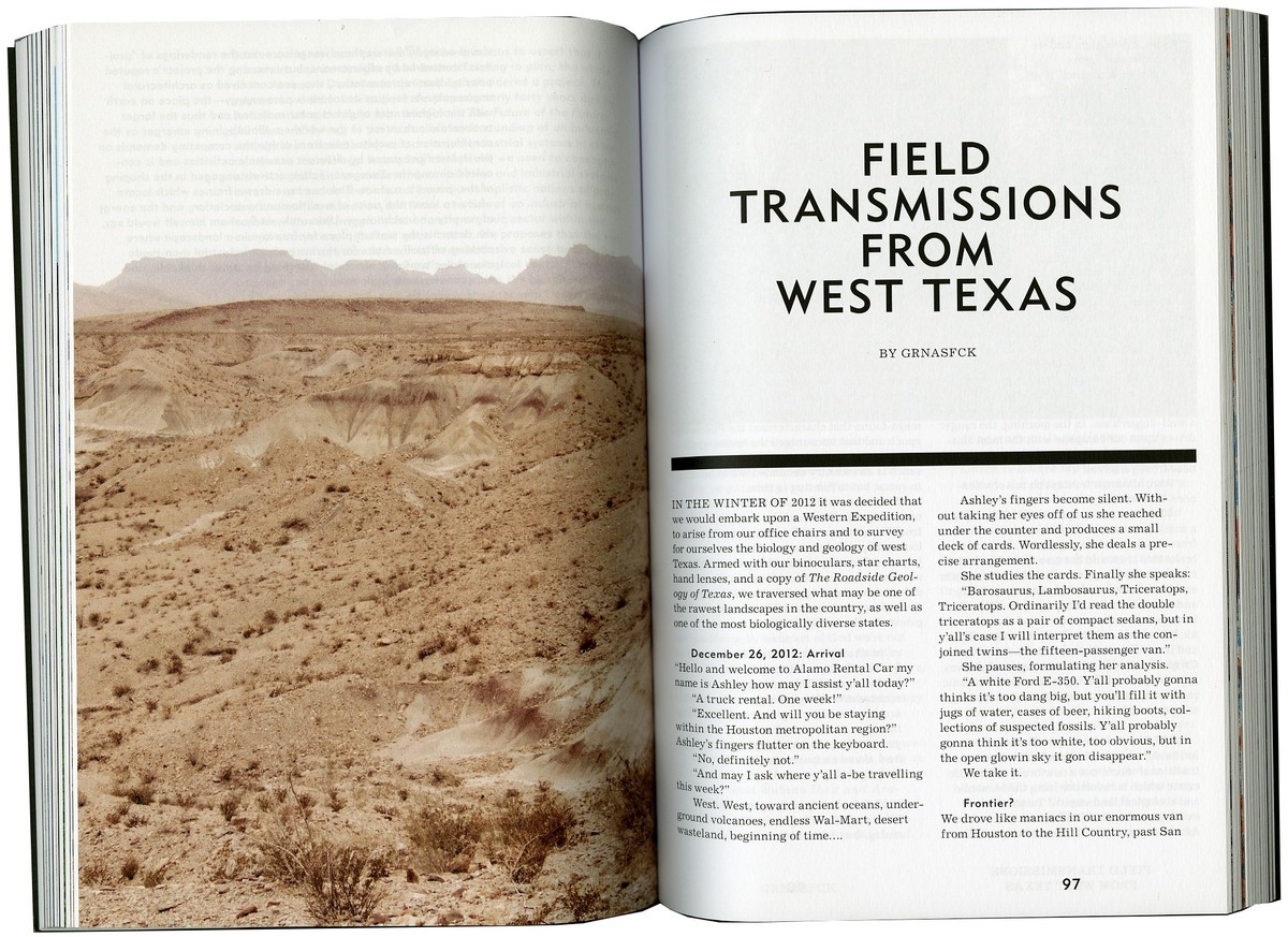 Field Transmissions from West Texas was published in the first issue of MANIFEST. Credit: MANIFEST / GRNASFCK