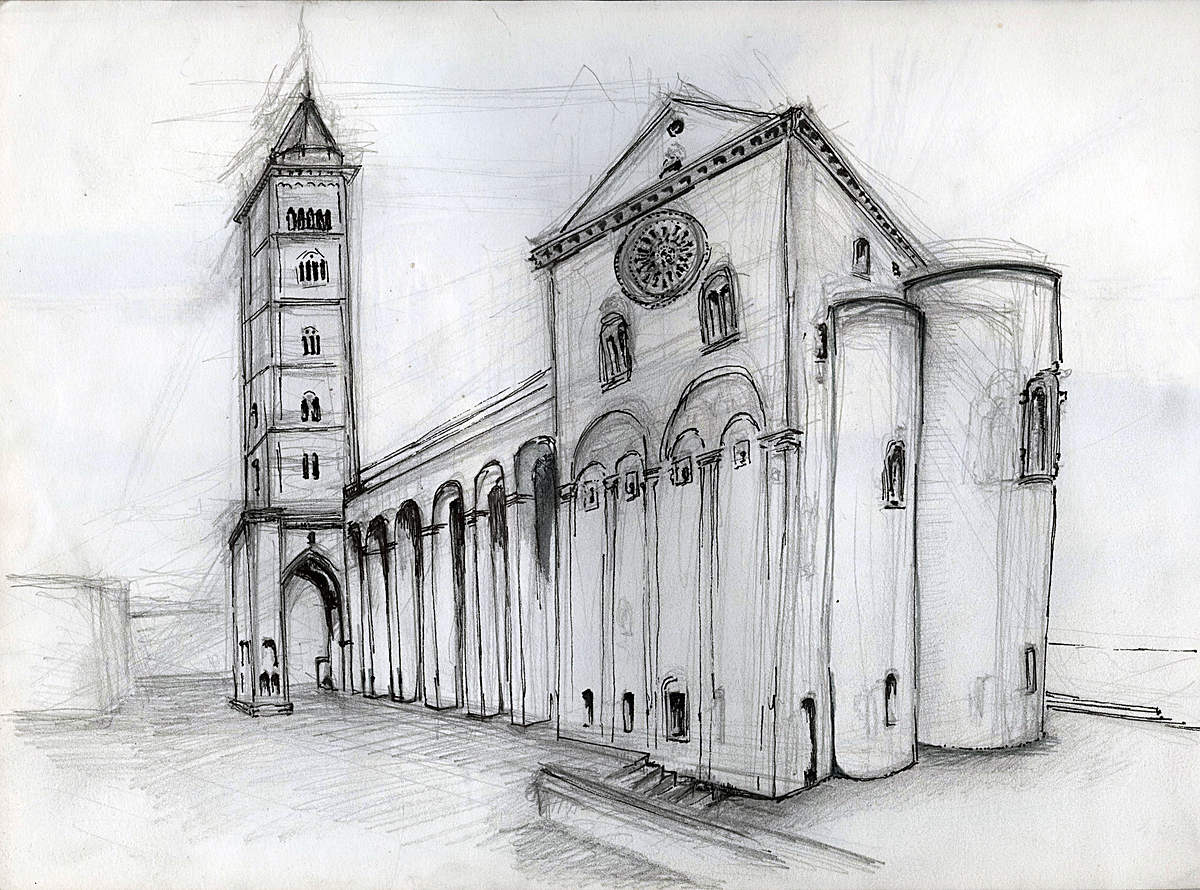 Cathedral, Trani , Italy (graphite +ink)