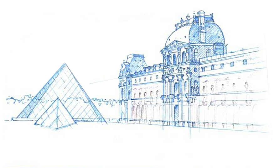 Hand Sketch - The Louvre, Paris, France (Pen & Ink)