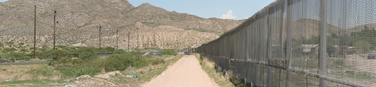 Border fencing at the outskirts of El Paso, TX