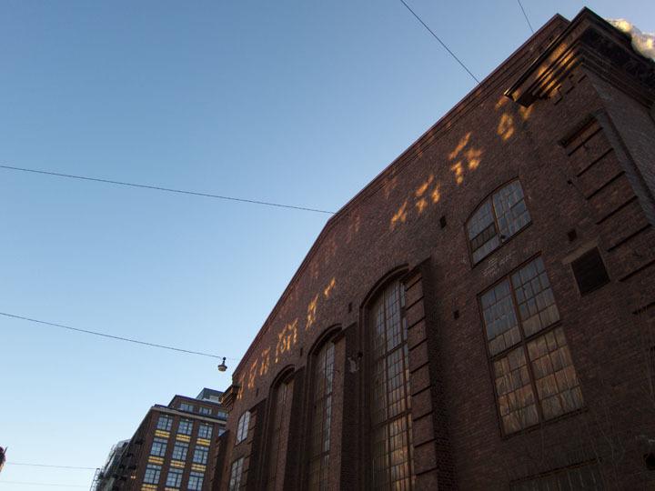 Evening light on building.
