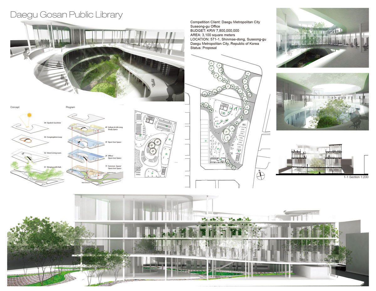 Daegu library yin kuang chang archinect for Architectural concept board examples