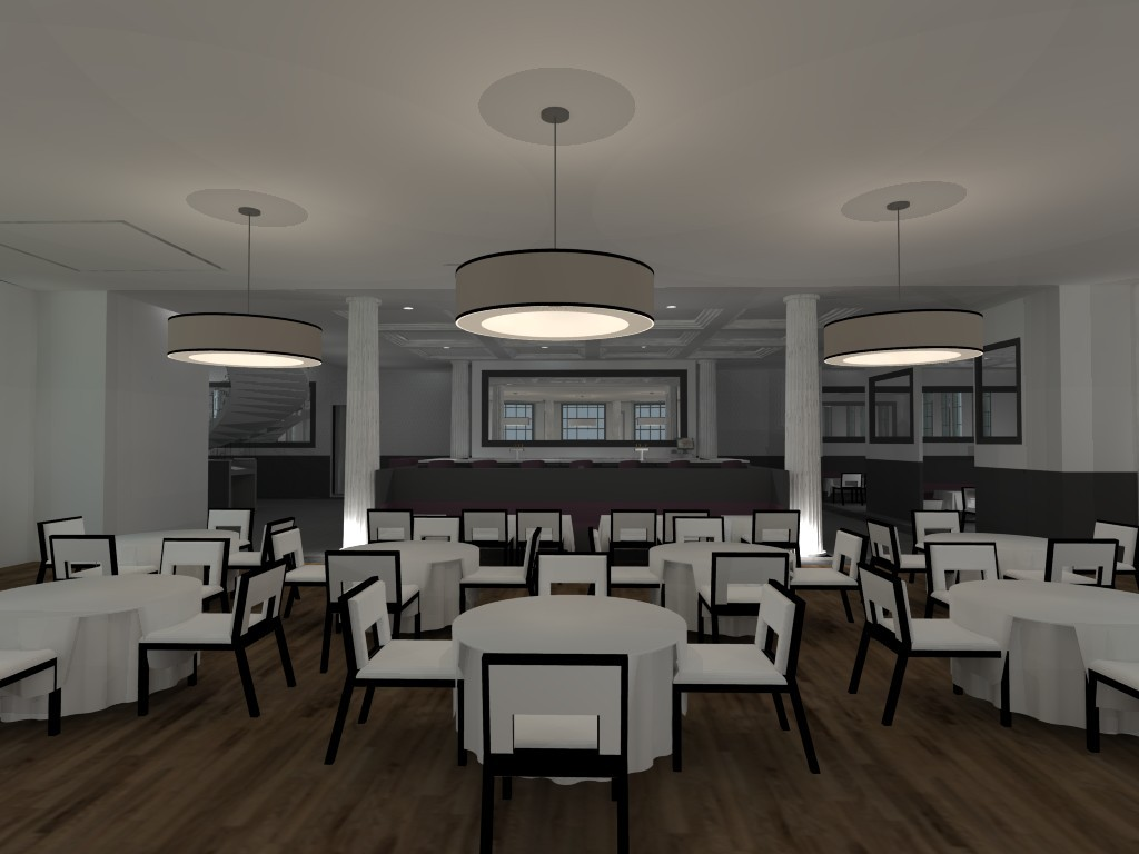 Rendering of first floor dining