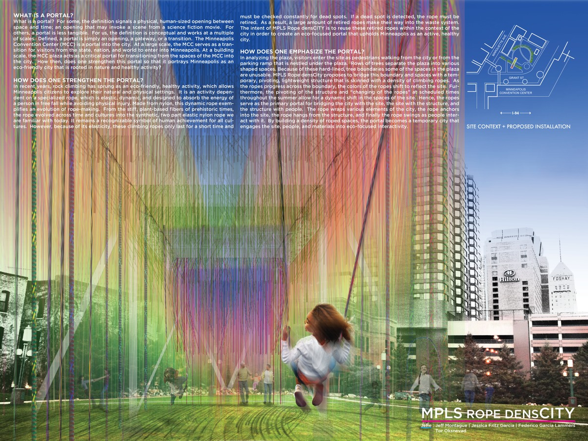 This image situates the viewer inside the interactive installation. A new kind of playground, MPLS Rope densCity weaves together man-made and natural materials to create an environment that invites people of all ages and backgrounds to engage with one another as well as the Minneapolis Convention Center (MCC) and plaza.