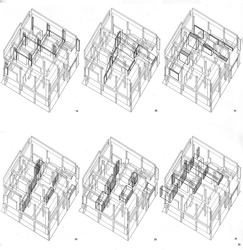 Peter Eisenman, House II, axonometric diagrams