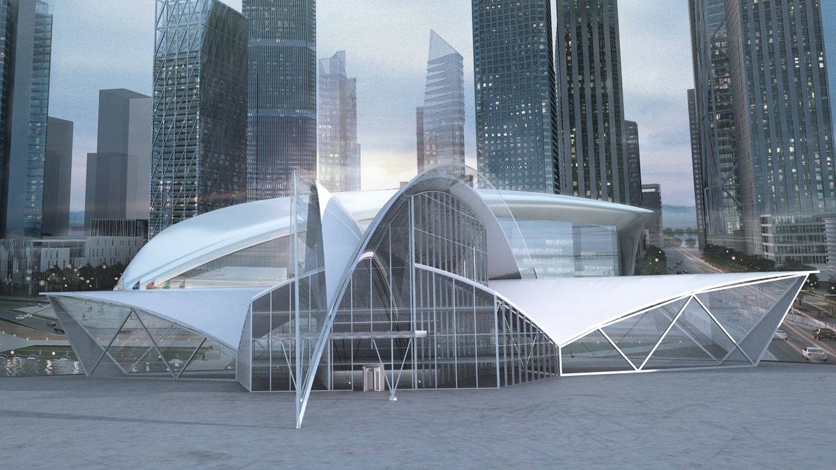 Futuristic building concept the engineering design Concept buildings