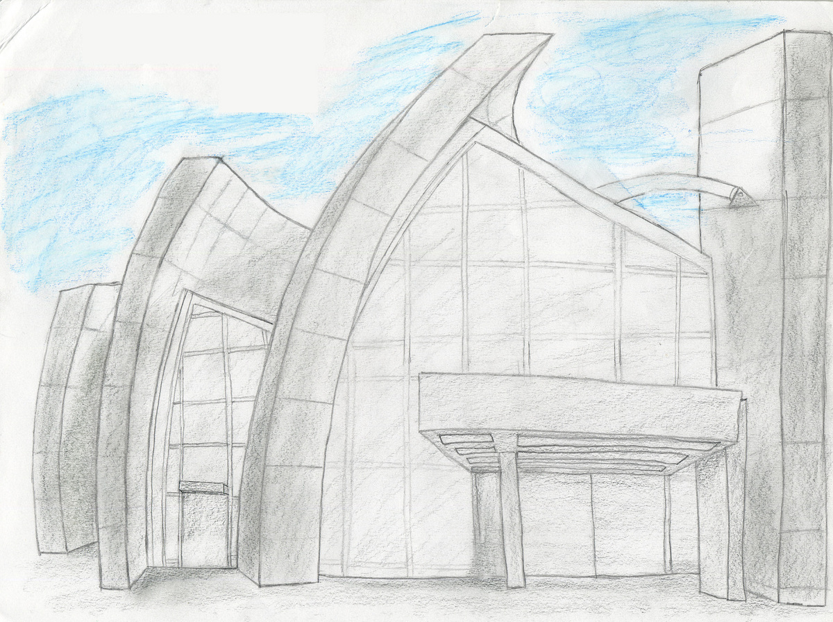 Drawing of Jubille Chruch by Richard Meier
