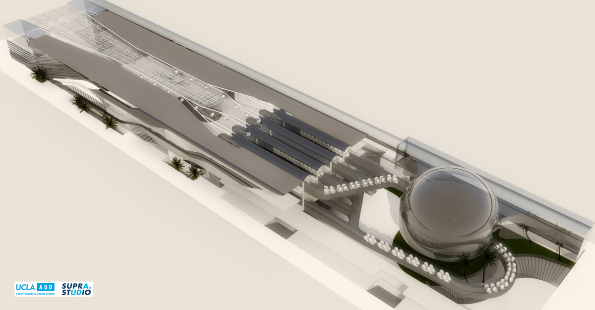 UCLA A.UD Hyperloop SUPRASTUDIO Station Design Proposal. © 2015 The Regents of the University of California UCLA Hyperloop SUPRASTUDIO team. Courtesy of UCLA Architecture & Urban Design.