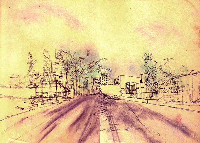 Ann Arbor street study sketch