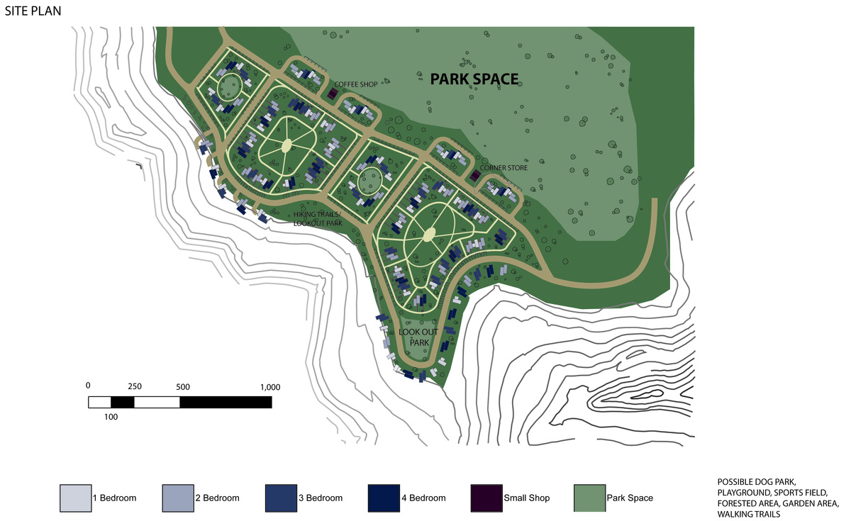 The site is able to provide community based homes for students, and private residences for faculty, as well as parks, shops, and recreational activity.