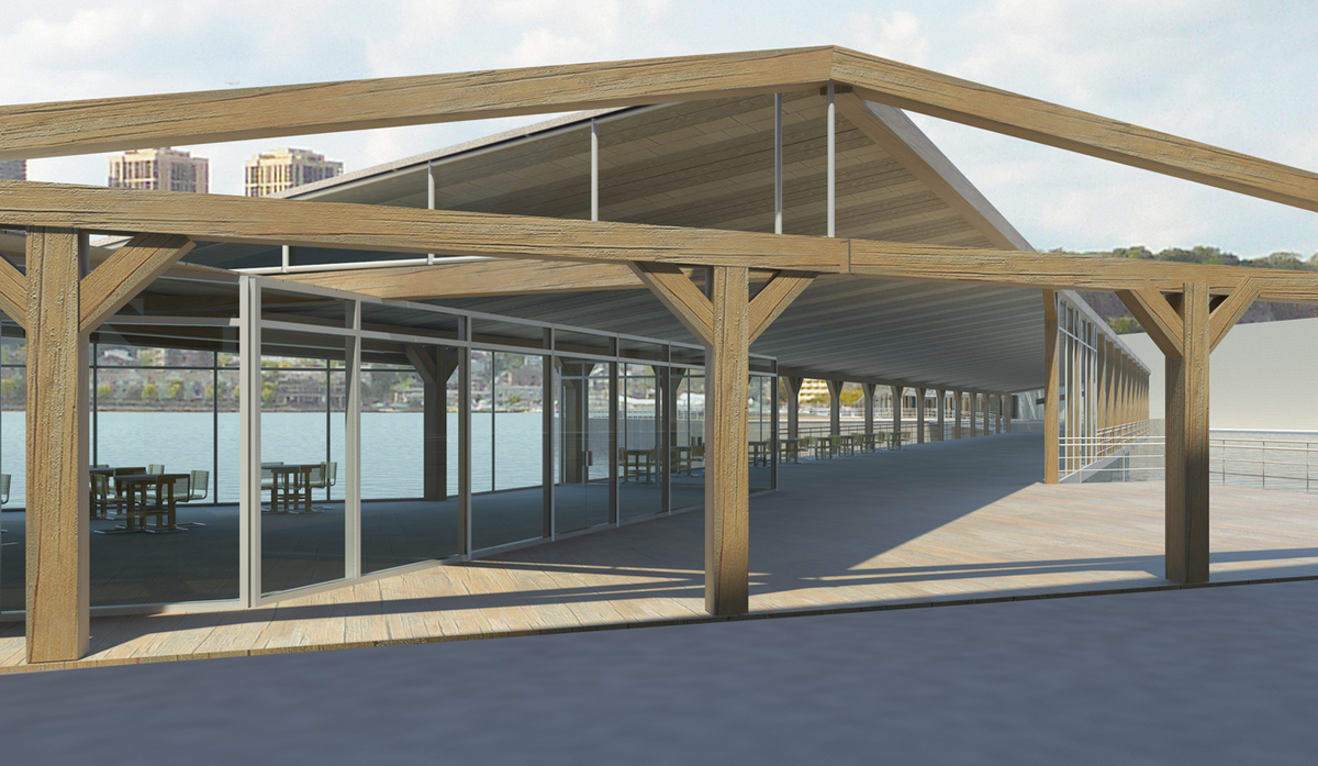Harlem Piers Farm proposal, Cafe with ramp to farm and water taxi station.