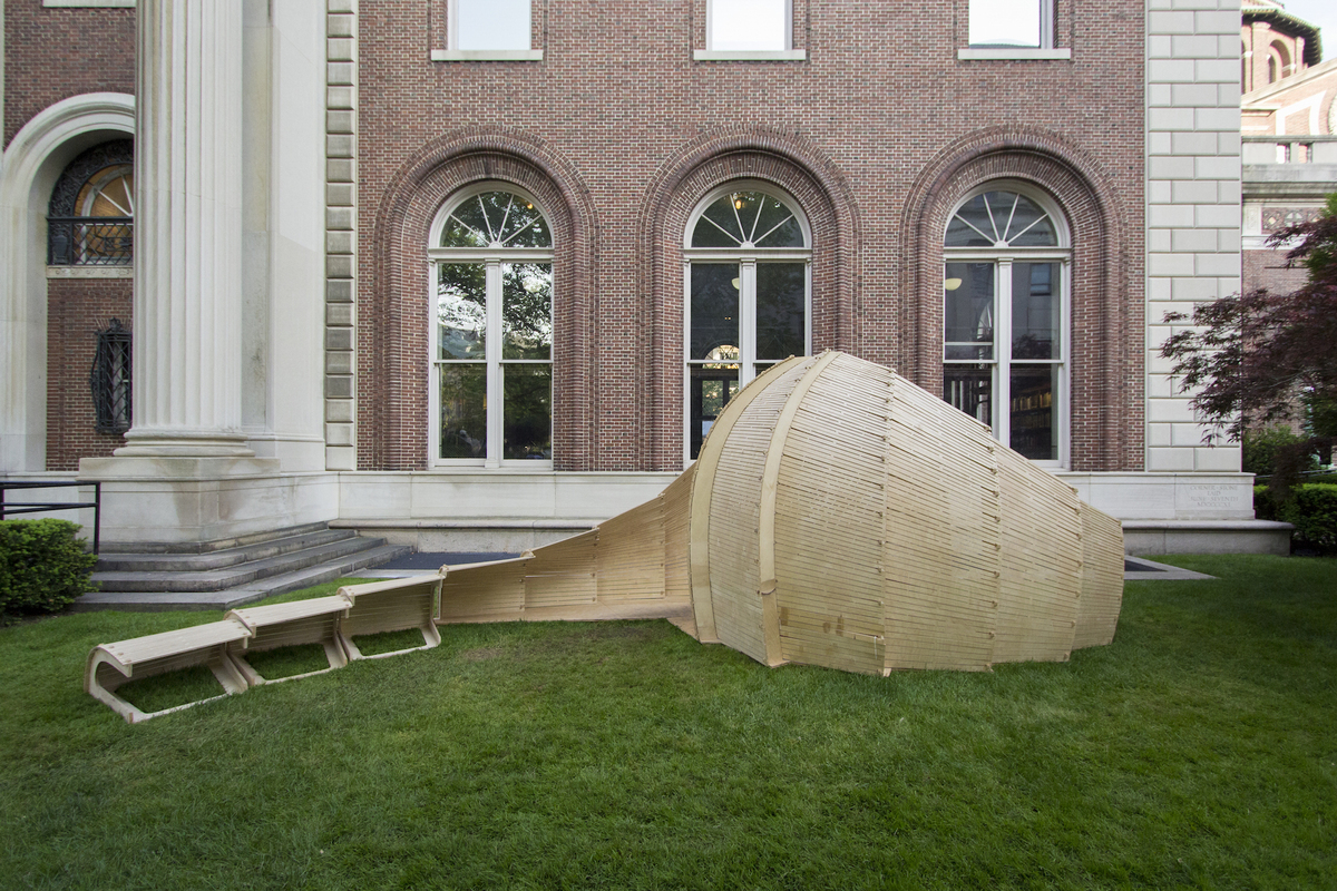 Kerby installation in front of Avery Hall. Fast Pace/Slow Pace Studio taught by professors Mark Bearak and Brigette Borders, with students Maximilian Hartman, Jordan Meerdink, Shalini Amin, Nutchanun Boontassaro, Tanya Griffiths, Julien Gonzalez, Jasmine Ho, Fancheng Fei, Ian Wang, Nicole Mater...