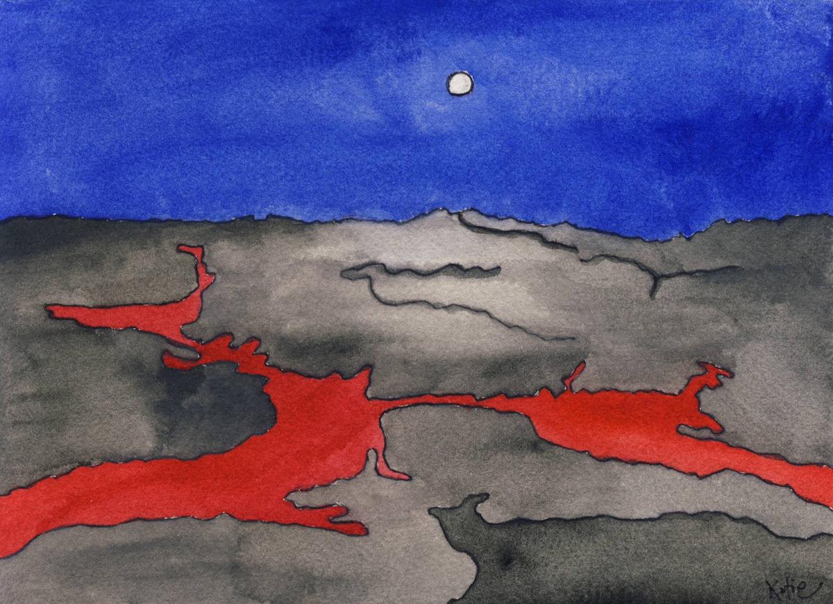 Conceptual water color- Lava Flow