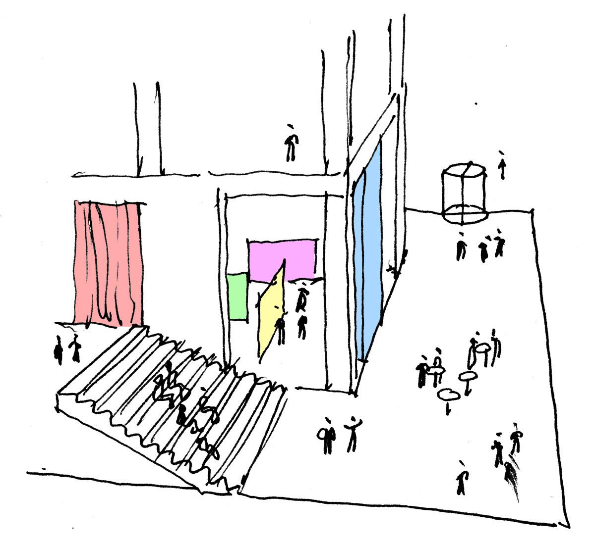 Sketch, staircase auditorium (Illustration: Henning Larsen Architects)