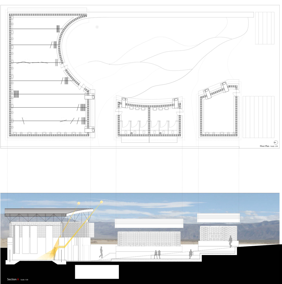the plan and section of the design