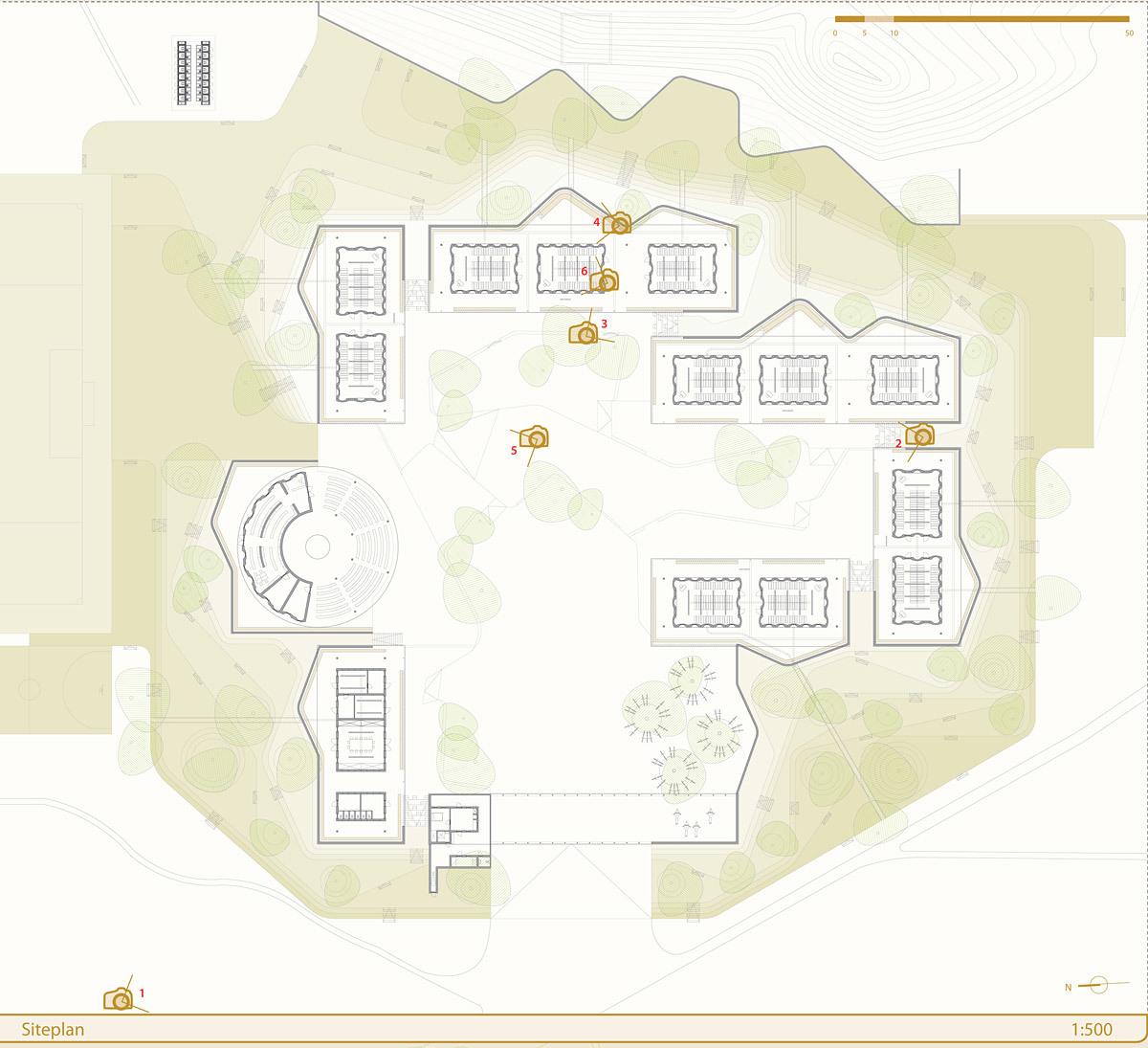 Global Holcim Awards 2012 Gold: Secondary school with passive ventilation system, Gando, Burkina Faso: Site plan. (Image © Holcim Foundation)