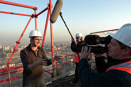 Space Tower: Danny climbs onto Spain's tallest skyscraper, currently under construction in Madrid. Photo by Adam Luibroth