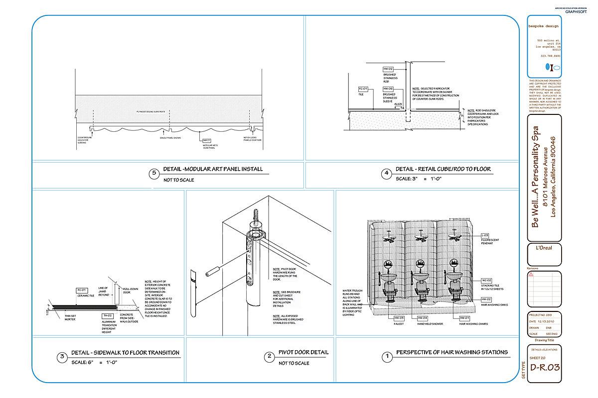 D-R.03 Men's Restroom Details, Elevations + Perspective Dwg