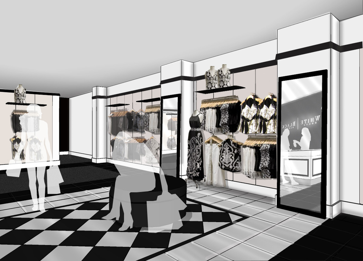 Black and white store white gold for Black home design