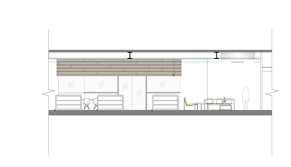 Sectional Elevation through Library