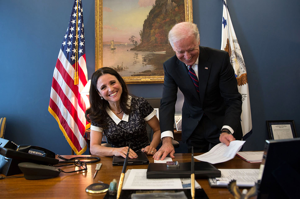 2016 AIA Convention keynote speaker Julia Louis Dreyfuss with U.S. Vice President Joe Biden. Image: Wikipedia