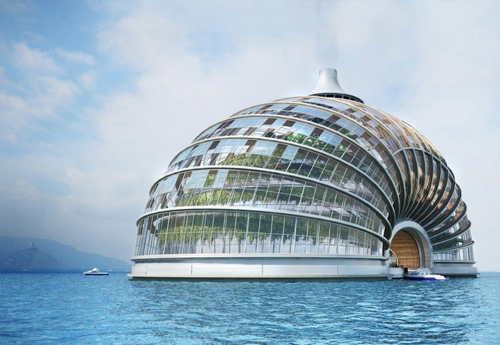 The Ark is a hotel by Russian design firm Remistudio and is meant to be self-sufficient. The transparent foil roof would allow light to reach plants inside, and the waste produced in the building would be converted into fuel. The cupola is meant to be energy-efficient, and its shell basement with cables and arches is designed to distribute weight evenly to make it earthquake- and flood-resistant. (Photo: Remistudio)