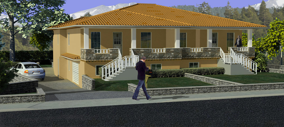 Home Rendering Built In 3ds Max 2009 In July 2009 Used Photoshop For Texture