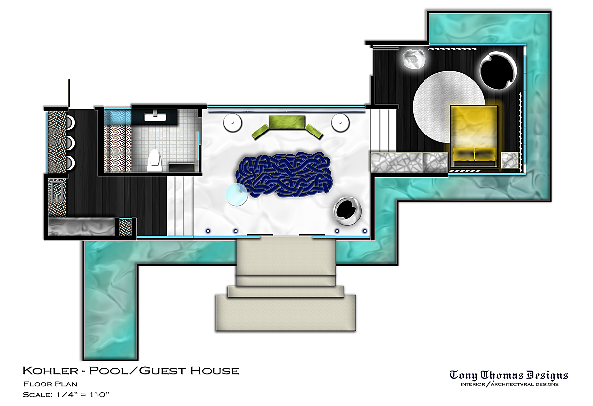 Kohler guest pool house tony thomas ii archinect Pool house guest house plans