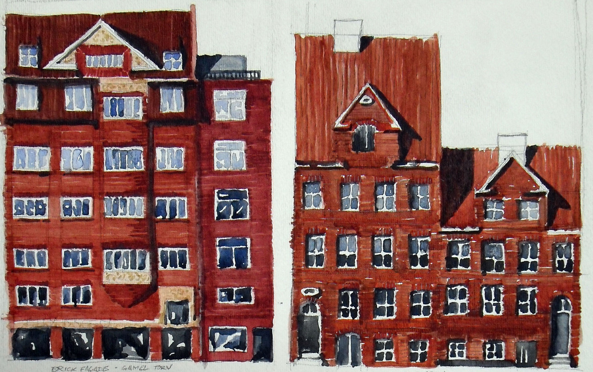 Facades in Copenhagen: watercolor
