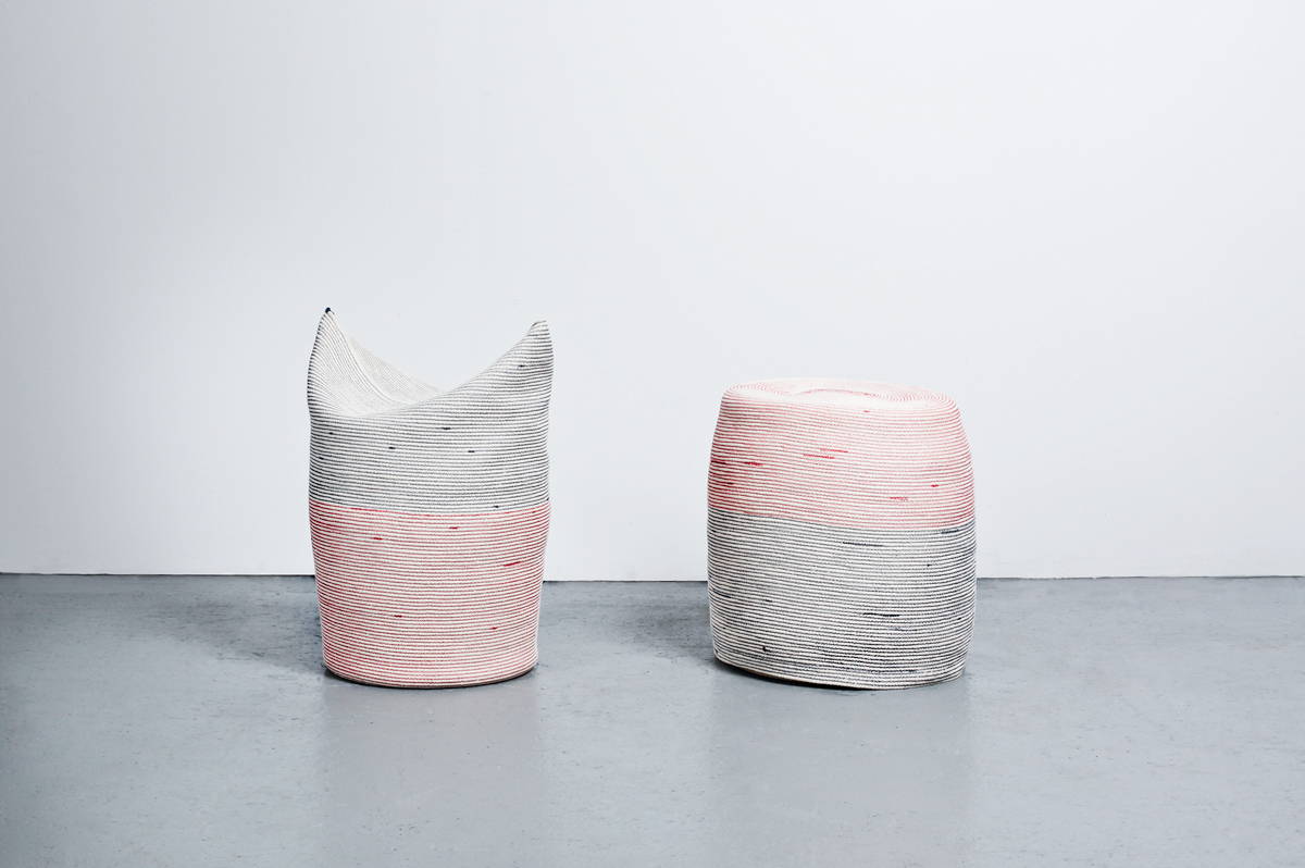 Two Stools stitched cotton rope, wood, flexible foam, 2012. Photo by Michael Popp
