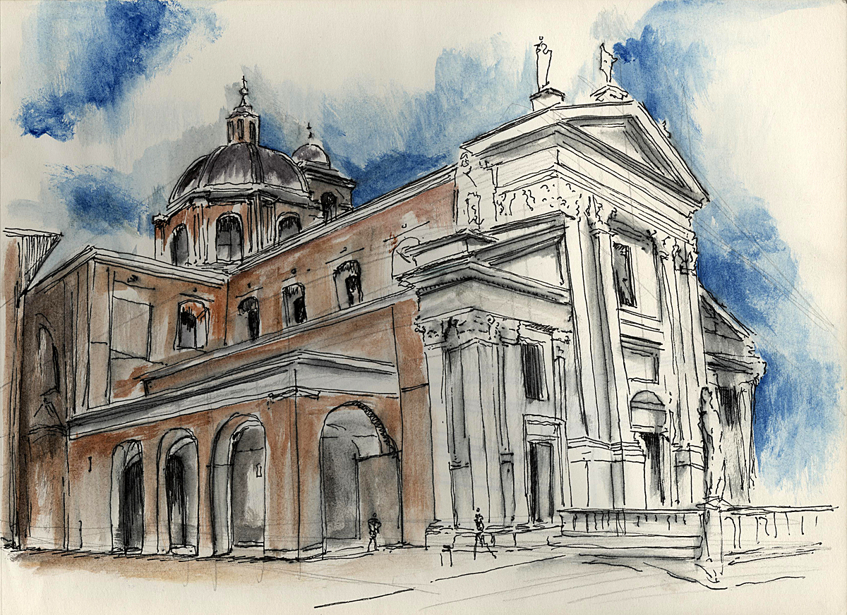 Church in Urbino, Italy (water colour + ink)